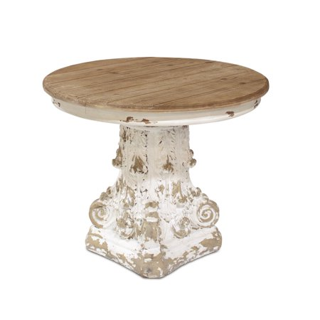 "Antique White Pedestal (31"" Unique Rustic Brown and Antique White Round Pedestal End Table)"