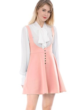 a4cef574f88 Product Image Women Button Decor Flared Hem Above Knee Dress Suspender  Skirt Dress