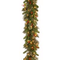 """9' x 12"""" Pre-Lit Wintry Pine Artificial Christmas Garland with Cones, Berries and Snow - Clear Lights"""