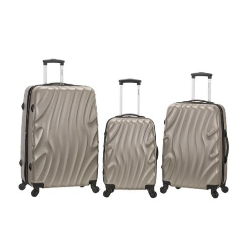 Rockland Wave Super Light Weight Black 3-piece Expandable Hardside Spinner Luggage Set