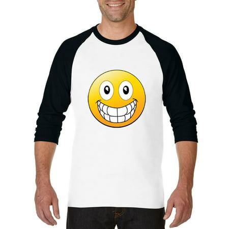 Big Smile Emoji   Raglan Sleeve Baseball T-Shirt