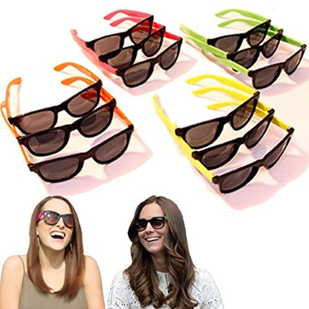 Dazzling Toys 24 Pairs Neon 80's Wayfarer Sunglasses Kids Teen Party Favors - Kids Sunglasses Party Favors