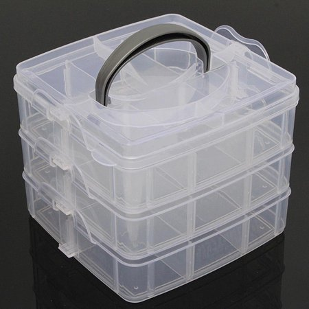 3-layers Plastic Clear Jewelry Bead Organizer Storage Box Container Craft Tool Case 3 Tray Detachable DIY Storage Space
