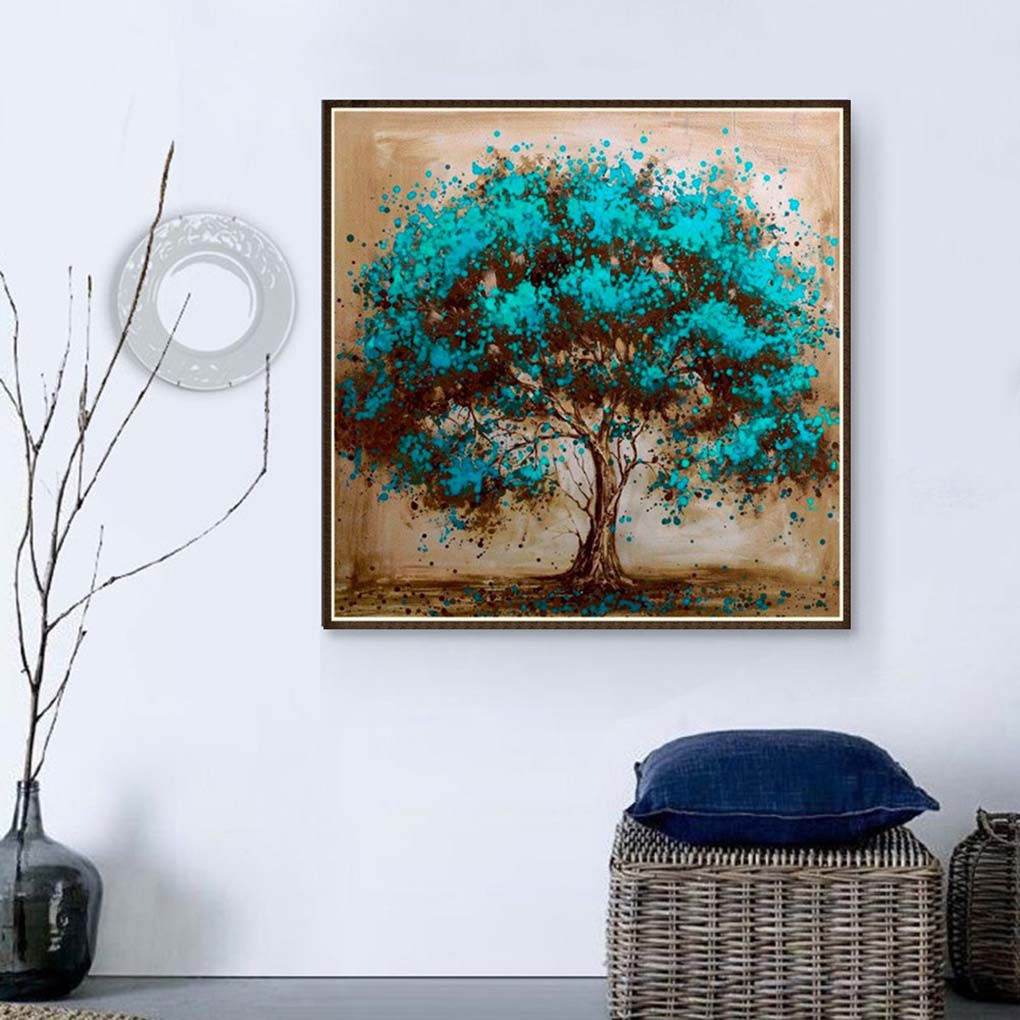 Blue tree Rhinestone embroidery kit   can easily make beautiful pictures