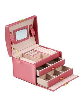 15e57f18f EECOO Jewelry Organizer Box with Lock, Three Layers PU Storage Box Jewelry  Organizer Travel Case