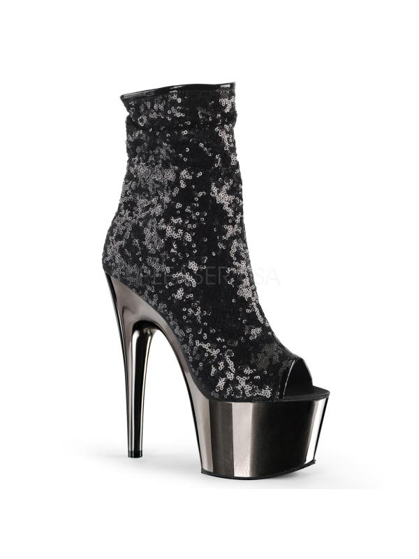 Pleaser Platforms Exotic Dancing Ankle/Mid-Calf Boots Blk Sequins/Blk Size: 7