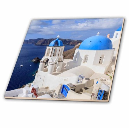 3dRose Traditional Blue Roofed Churches and homes, Santorini. Greece. - Ceramic Tile, (Ridge Roof Tiles)