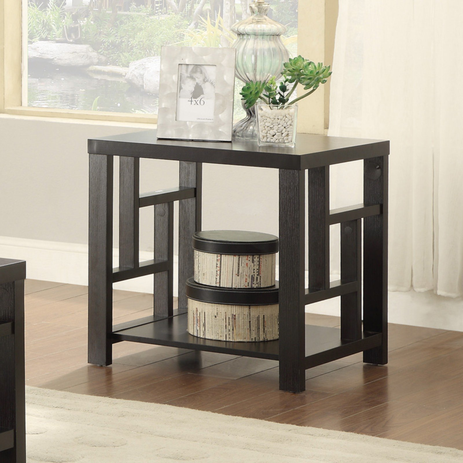 Coaster Transitional End Table, Cappuccino Finish