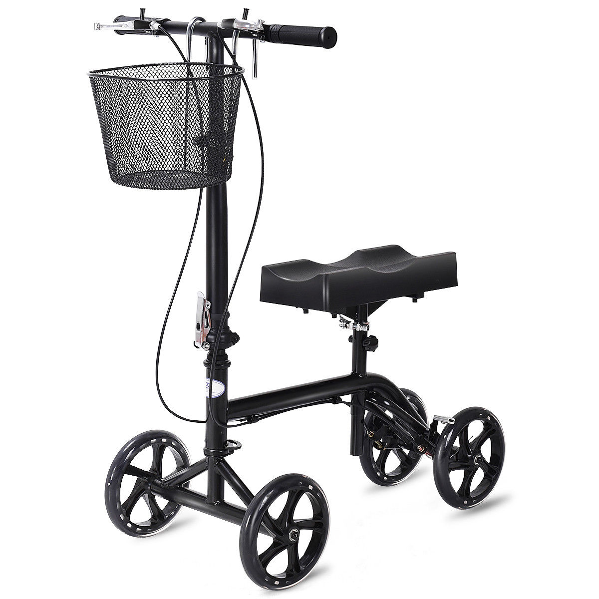 Costway Steerable Foldable Knee Walker Scooter Turning Brake Basket Drive Cart Black