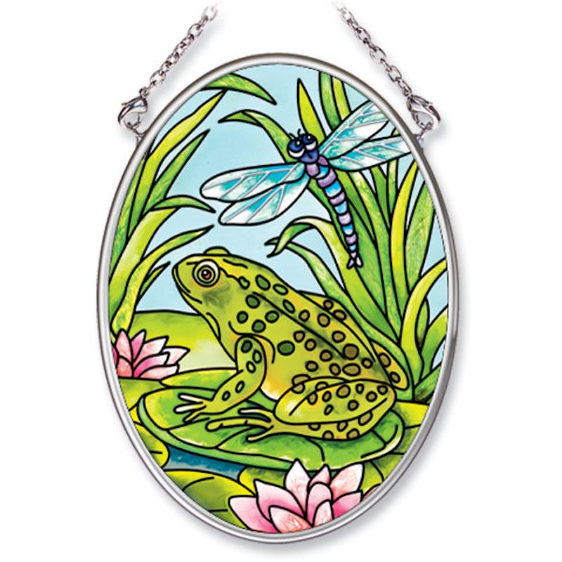 Amia Studios 5546 Frog and Dragonfly Small Circle Suncatcher