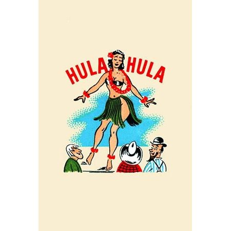 Cover from a matchbook for a caf showing a woman doing the tradional Hula dance from Hawaii Poster Print by unknown