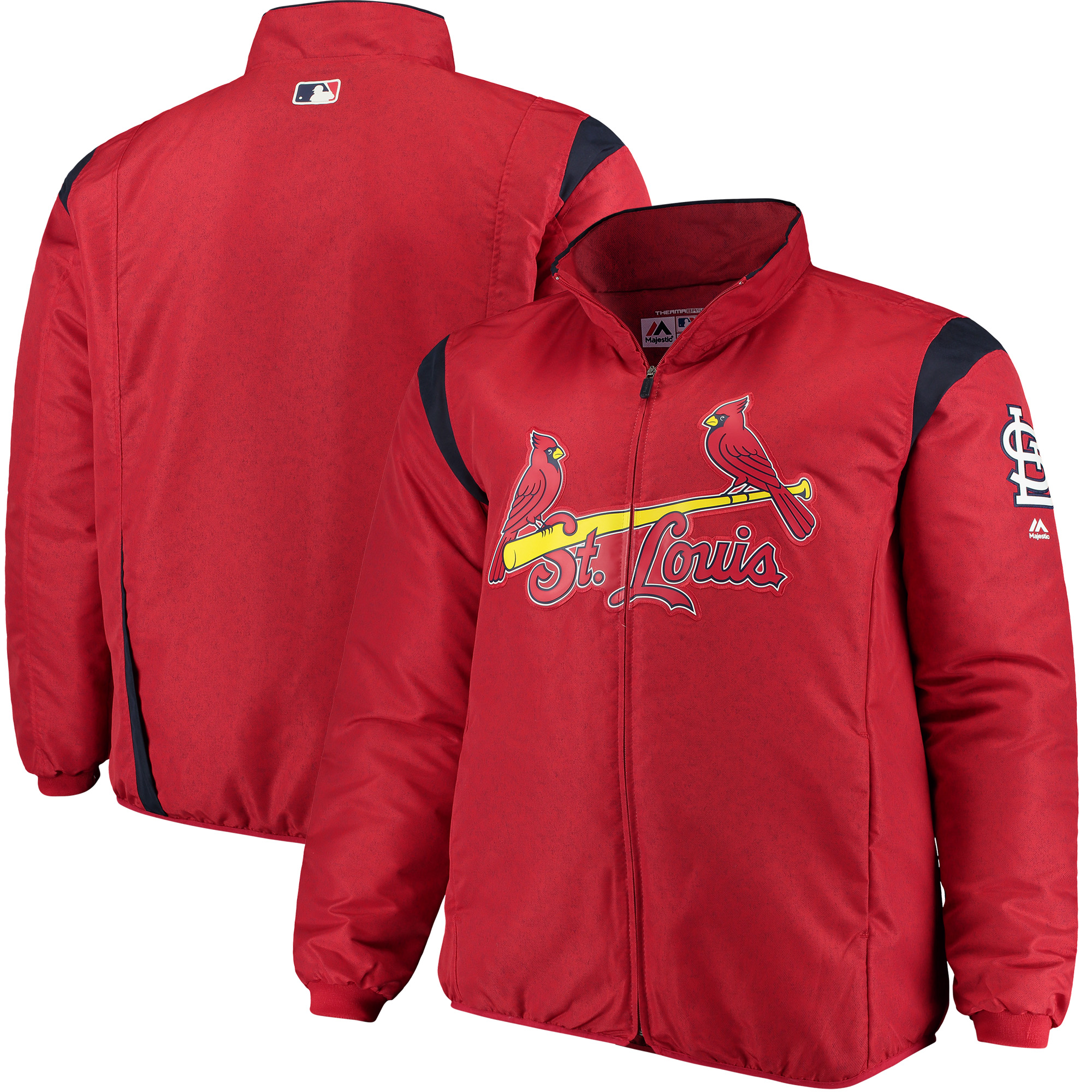 St. Louis Cardinals Majestic Big & Tall On-Field Premier Full-Zip Jacket - Red