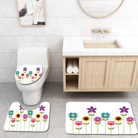 XDDJA Beautiful Flowers 3 Piece Bathroom Rugs Set Bath Rug Contour Mat and Toilet Lid Cover - image 1 de 2