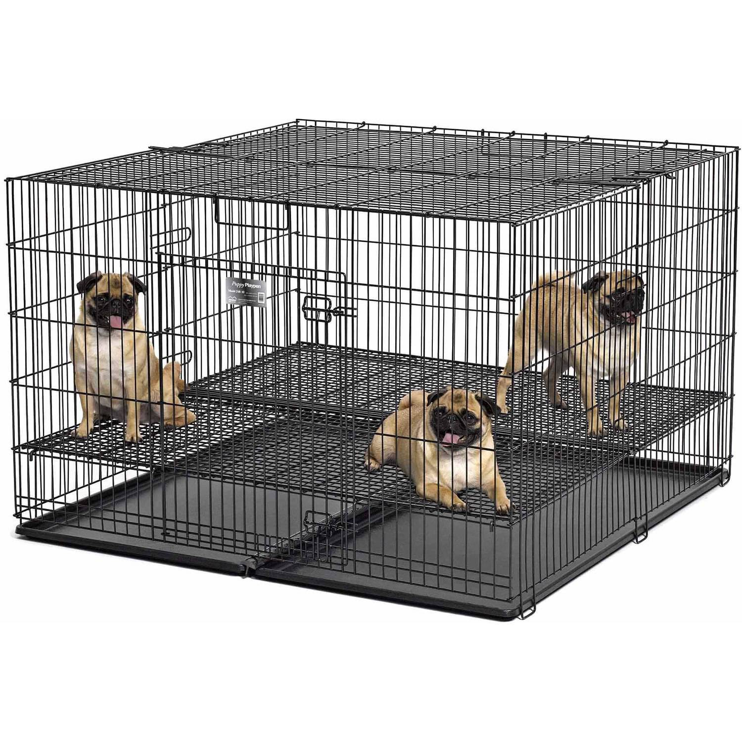 """Midwest Puppy Playpen with Plastic Pans and 1/2"""" Floor Grid"""