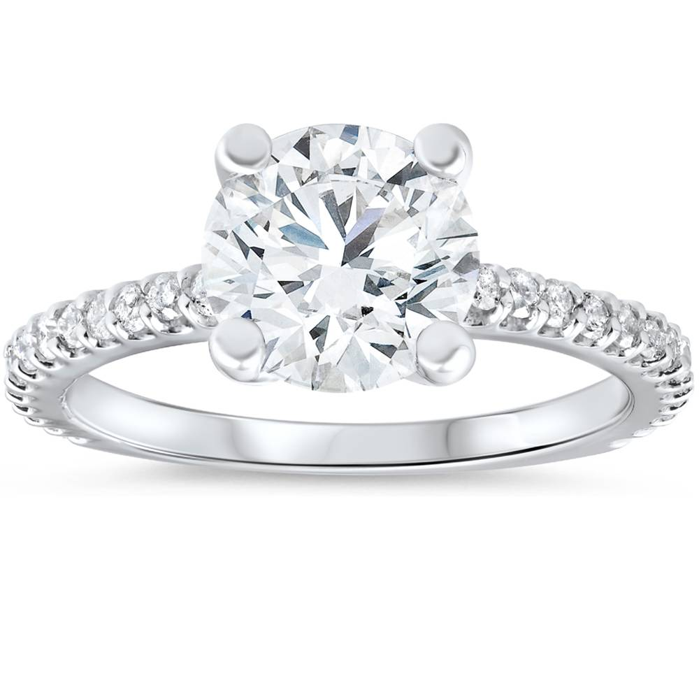 3 Carat Diamond Engagement Solitaire Ring 14K White Gold Enhanced Round Cut