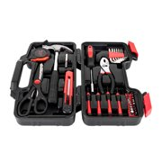 UBesGoo 39 Piece Precision Tool Set Kit, General Household Hand Tool Kit, Women Ladies Girls Female Hammer Pliers Scissors, with Storage Case, Red