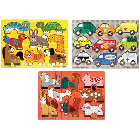 Melissa & Doug Mix 'n Match Wooden Peg Puzzles (Set of 3) - Animals and Cars