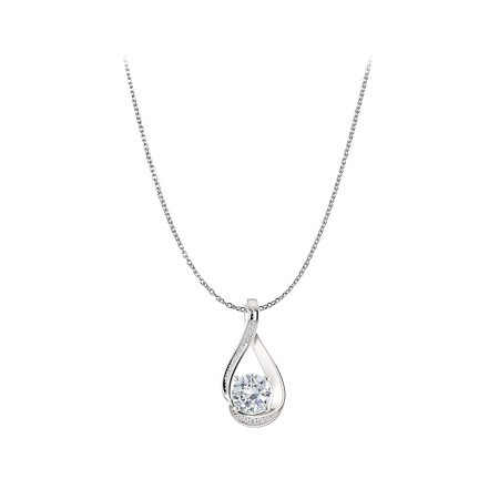 CZ Infinity Style Pendant in 14K White Gold Free Chain - image 2 de 2