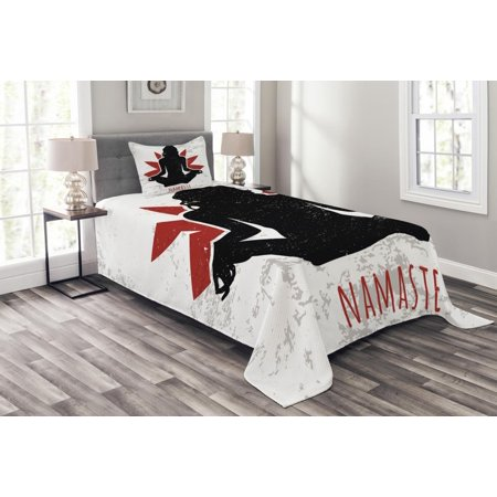 yoga bedspread set grunge display woman in lotus pose the