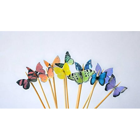 Edible Butterflies ? - Mini Assorted Rainbow Set of 48 - Cake and Cupcake Toppers, Decoration