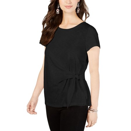 Style & Co Women's Side-Tie Top Black Size Extra Large