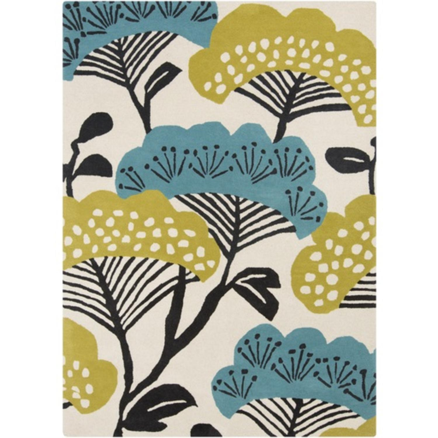 5' x 8' Teal and Lime Green Vernal Blossoms Hand Tufted Wool Area Throw Rug