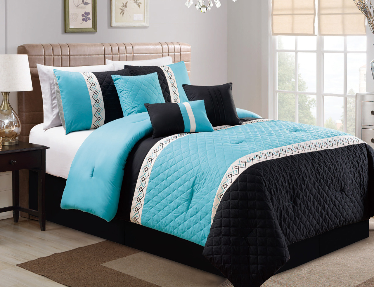 Mainstays Ombre Coordinated Bedding Set With Bedskirt Bed In A Bag - Black and teal comforter sets