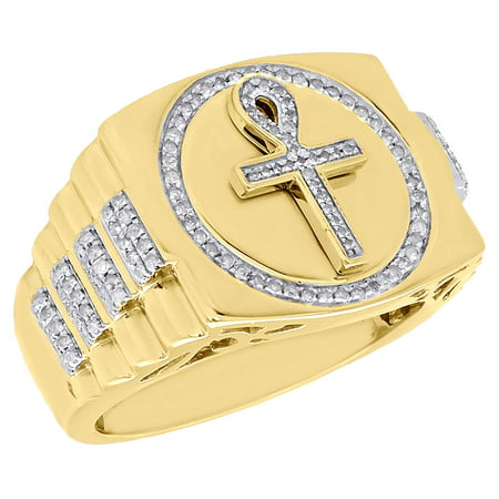 jewelry for less 10k yellow gold round diamond egyptian ankh 3d