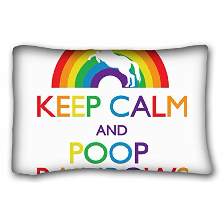 WinHome Keep Calm And Poop Rainbows Unicorn Pillow Square Rectangle Pillow Cover Cushion Case With Hidden Zipper Closure Pillowcase For Living Room Sofa Size 20x30 Inches Two Sided Print - Rainbow Poop