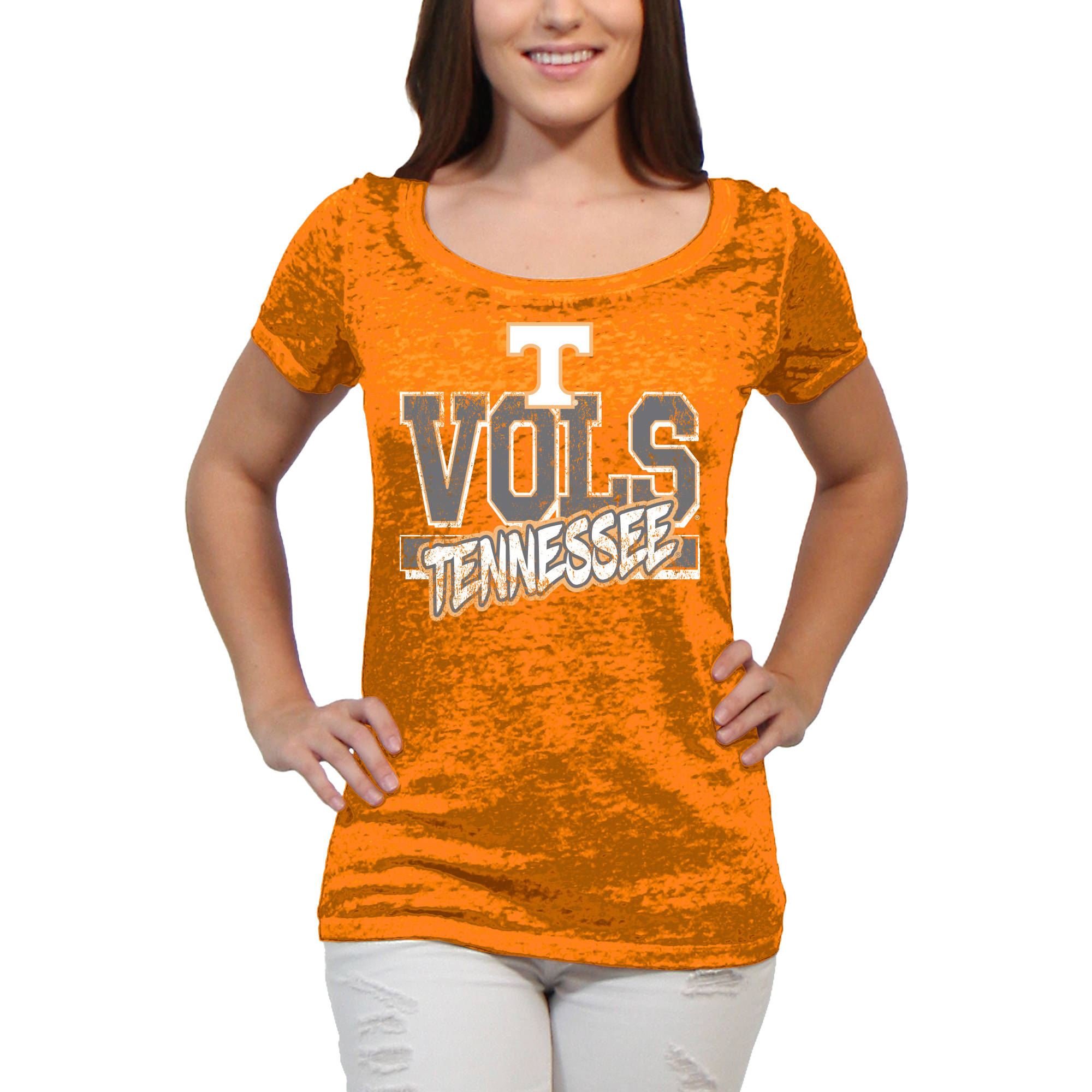 Tennessee Volunteers Block Graffiti Women'S/Juniors Team Short Sleeve Scoop Neck Tee Shirt