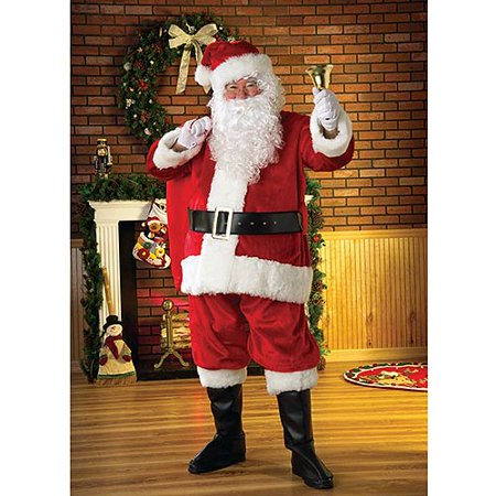 Men's Deluxe Plush Regency Santa Christmas Costume - Christmas Theme Costume