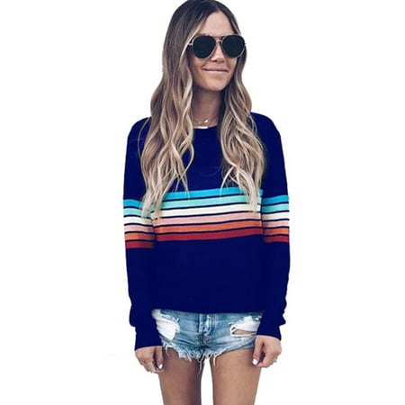 Rugby Stripe Crewneck Sweater - Womens Long Sleeve Striped Knitted Pullover Sweater Casual Knitwear Jumper Tops