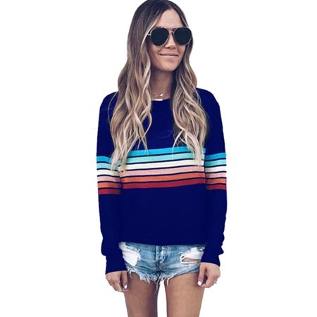 Womens Long Sleeve Striped Knitted Pullover Sweater Casual Knitwear Jumper Tops