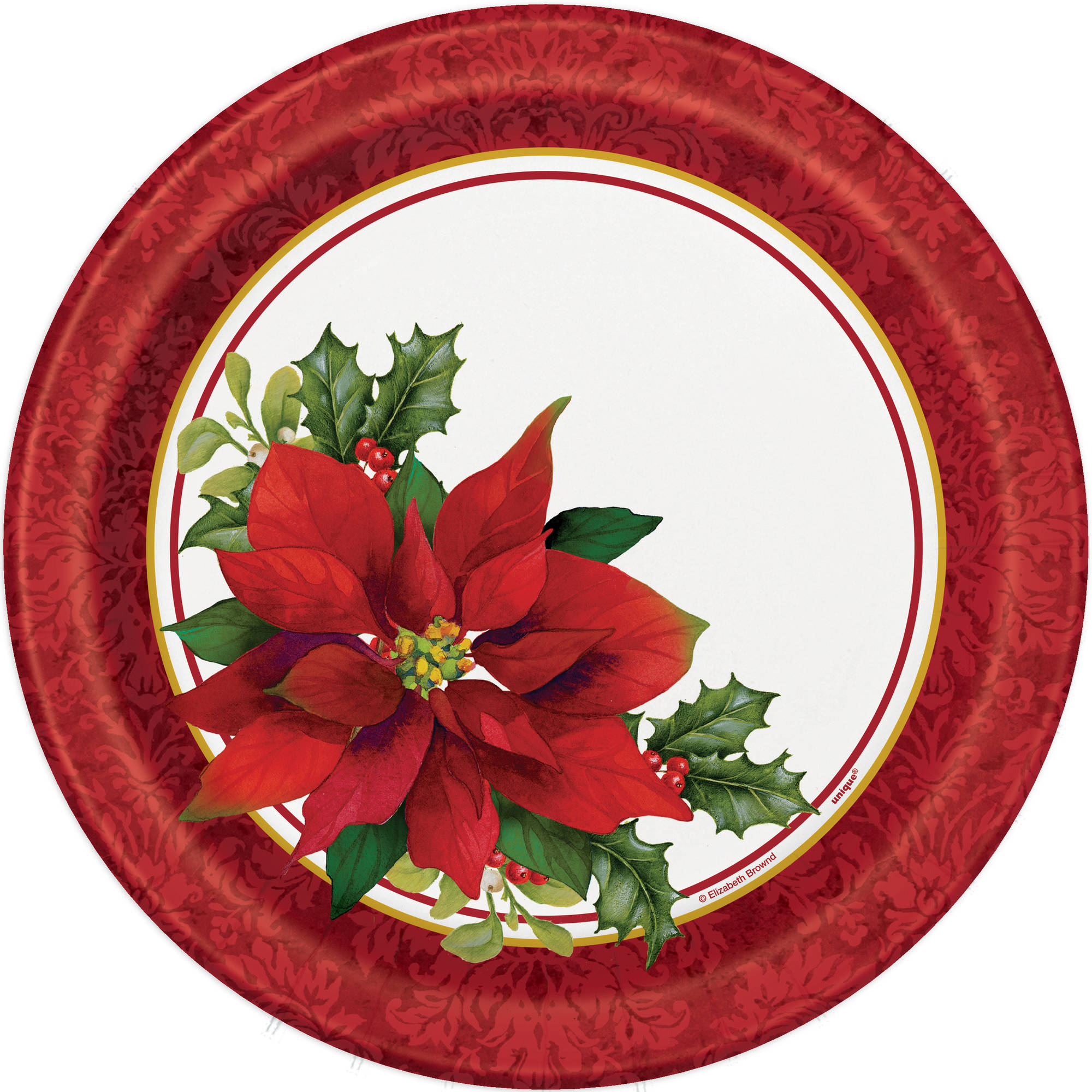 "9"" Holly Poinsettia Holiday Party Plates, 8ct"