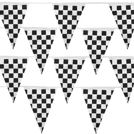 Pudgy Pedros Party Supplies MPAR-102 Black & White Checker 100 Foot Pennant Stringer with 48 - Checkerd Flags
