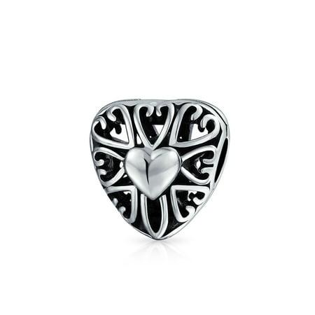 Heart Shape Filigree Cutout Charm Bead For Women For Teen Oxidized 925 Sterling Silver Fits European - Filigree Charm