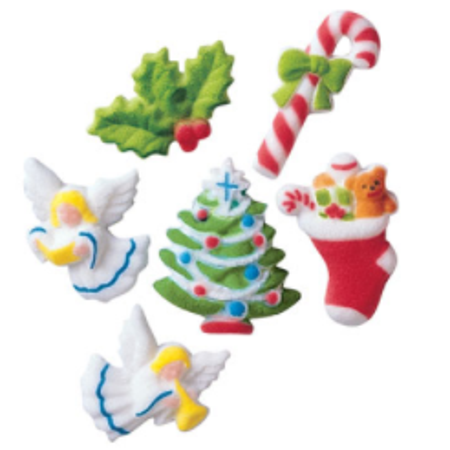 Set of 12 Deluxe Christmas 1 7/8inch Edible Sugar Cake & Cupcake Decoration - Simple Halloween Cake Decorations