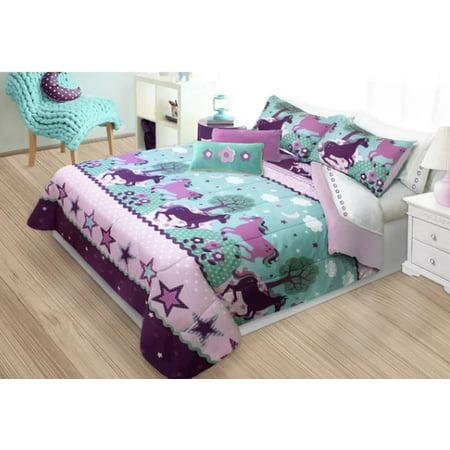 Purple Pony & Horses Girls Twin Comforter & Sham Set (2 Piece Bedding)