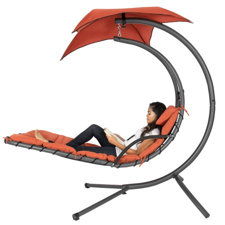 Best Choice Products Outdoor Hanging Curved Steel Chaise Lounge Chair Swing with Built-In Pillow and Removable Canopy, Orange ()