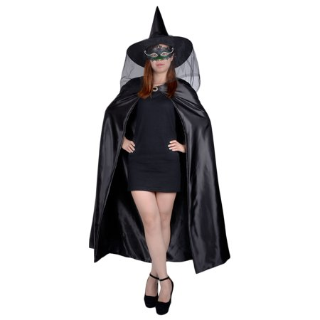 Halloween Costumes With Capes (Womens Halloween Cape Set 53'' Long Cosplay Cloak Costumes with Veil Fascinator Witch Hat for)