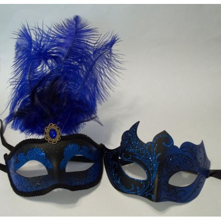 Blue Black Couples Man Woman Masquerade Mardi Gras Male Female Set Feather Masks (Female Masquerade Masks)