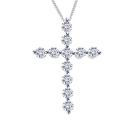 0.59 Ct Round Cut Natural Diamond Cross Pendant Necklace In 14K Solid White Gold