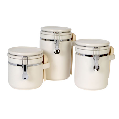 Gibson Sensations II 3-Piece Canister Set, White