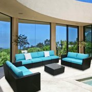 Kinbor 9pcs Outdoor Patio Furniture Sectional Pe Wicker Rattan Sofa Set