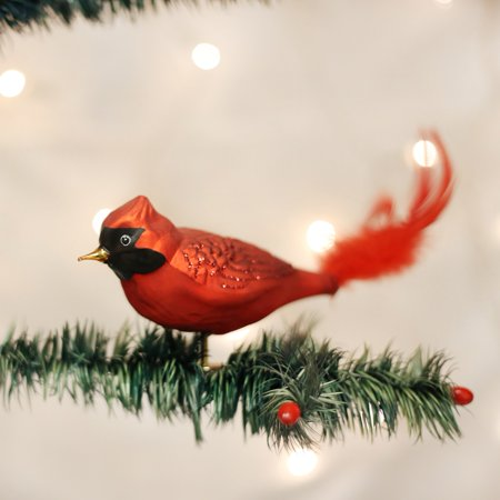 Old World Christmas Large Red Cardinal Clip-On Glass Ornament 18009 FREE (Clip On Glass Candles For Christmas Tree)