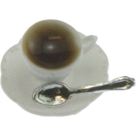 Dollhouse Cup Of Coffee On Saucer W Spoon