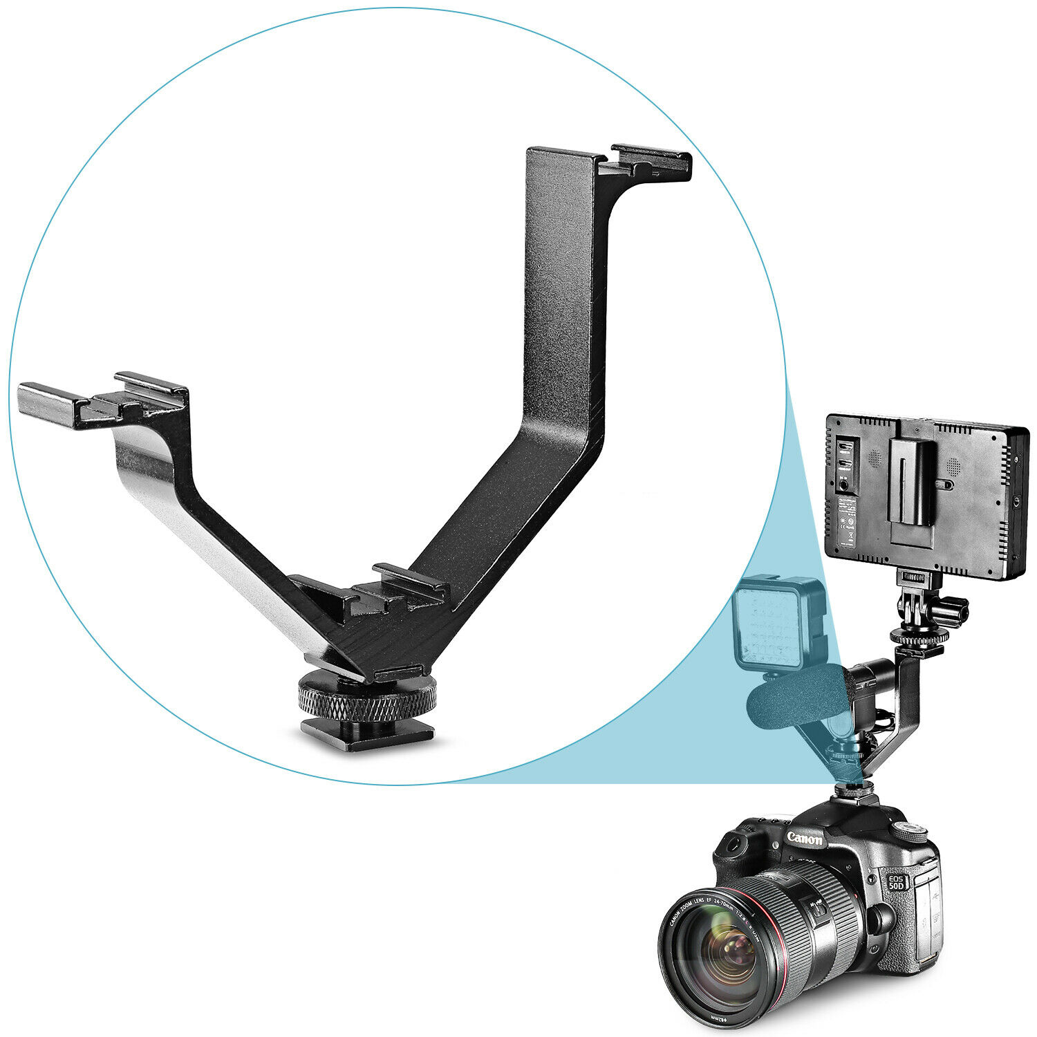 Cold Shoe Mount Holder Adapter For Flash Microphone Camera Flash Light WH