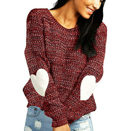 Women's cute Heart Pattern Patchwork Casual Loose Thin Long Sleeve Round Neck Knits Sweater Pullover