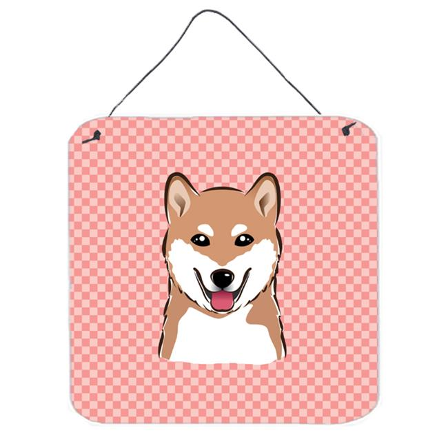 Checkerboard Blue Shiba Inu Aluminum Metal Wall Or Door Hanging Prints, 6 x 6 In.