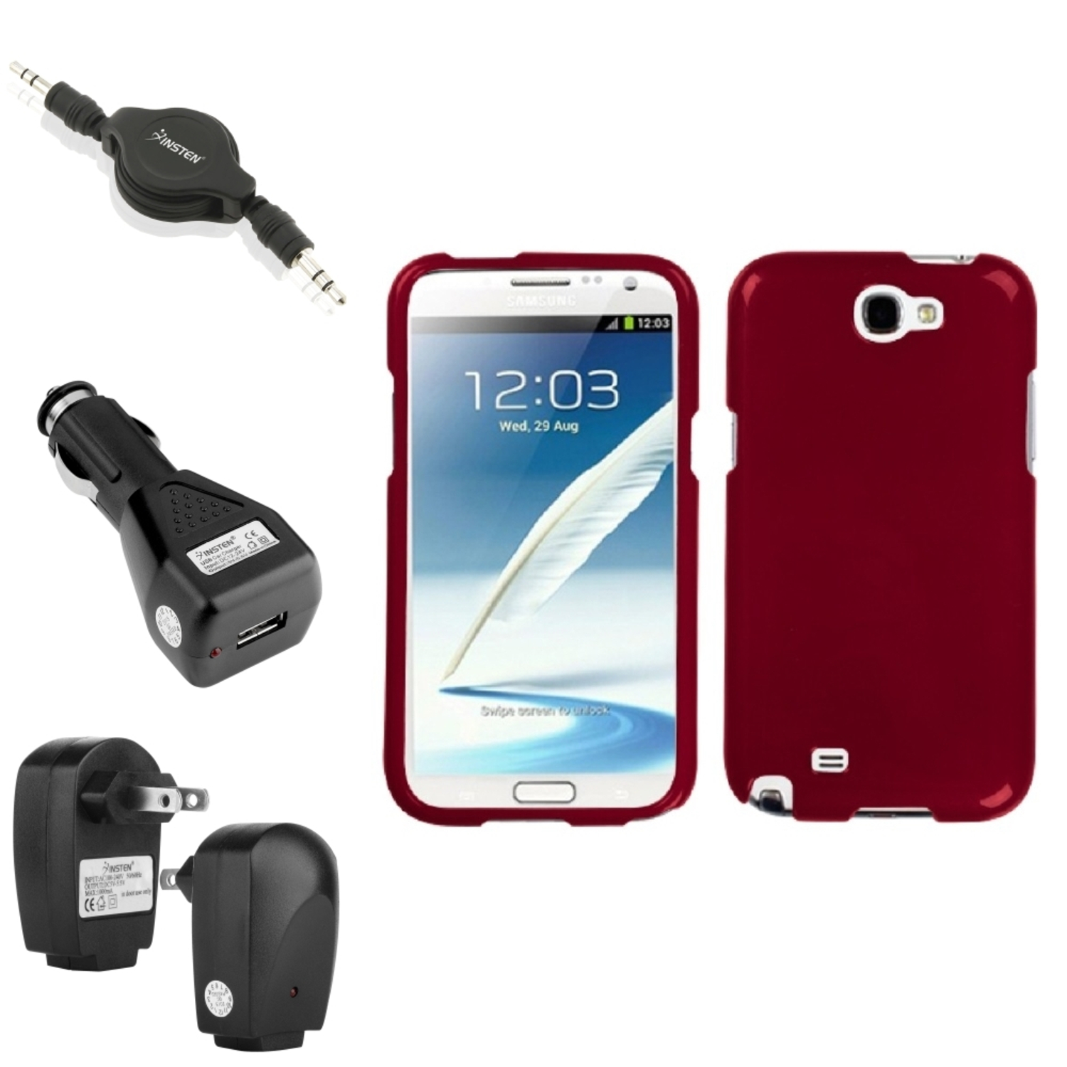 Insten Solid Red Hard Case 2x Charger Audio Cable For Samsung Galaxy Note 2 II